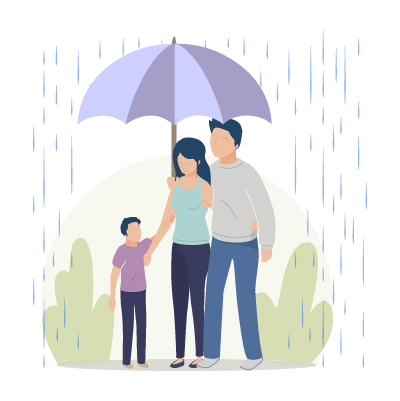 A Family under an umbrella - About We Care