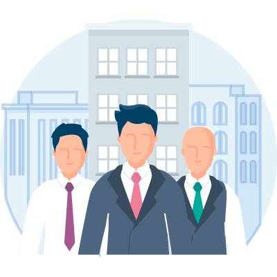 Three businessman in front of city buildings