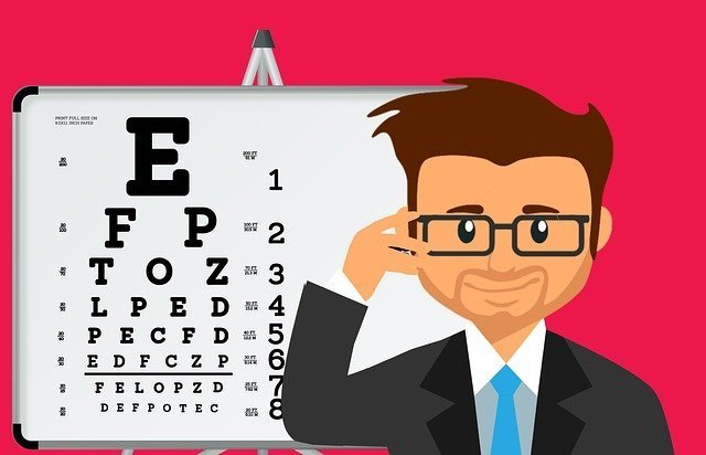 Eye doctor with eye chart and holding his glasses